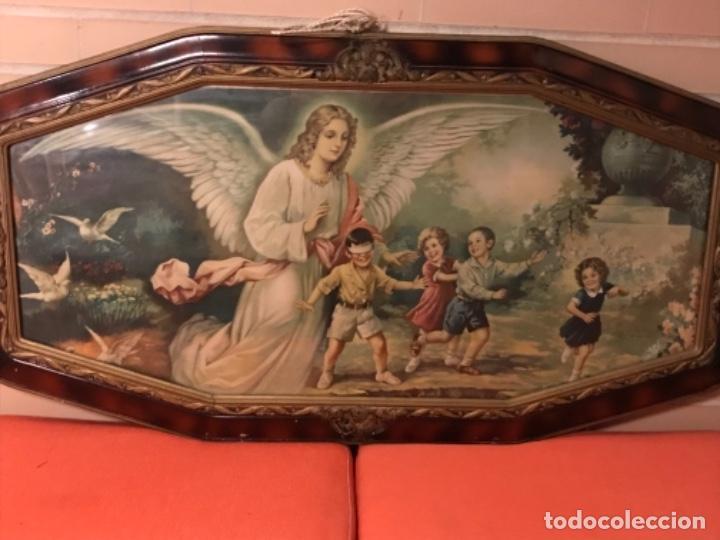 Arte: angel de la guarda antiguo cuadro litografia color j angel protector juega con niños gallina ciega - Foto 3 - 170321008