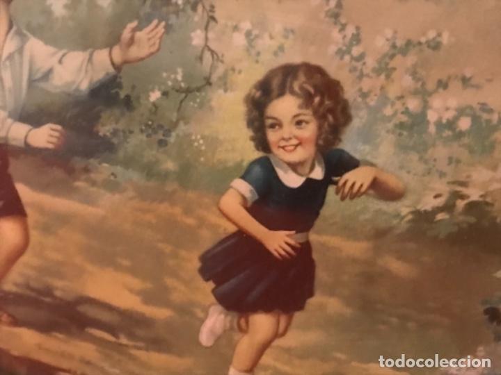 Arte: angel de la guarda antiguo cuadro litografia color j angel protector juega con niños gallina ciega - Foto 4 - 170321008
