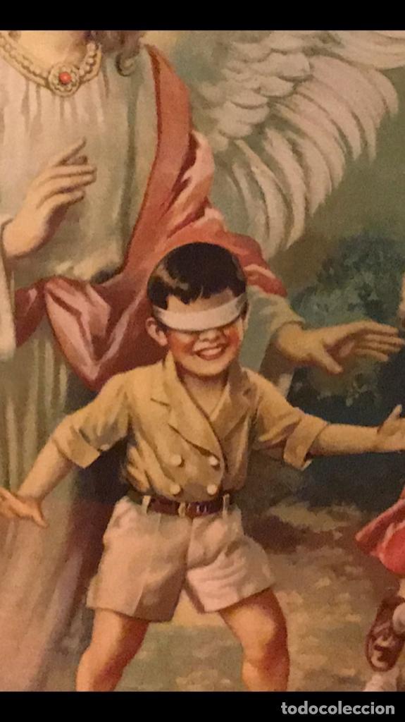Arte: angel de la guarda antiguo cuadro litografia color j angel protector juega con niños gallina ciega - Foto 6 - 170321008