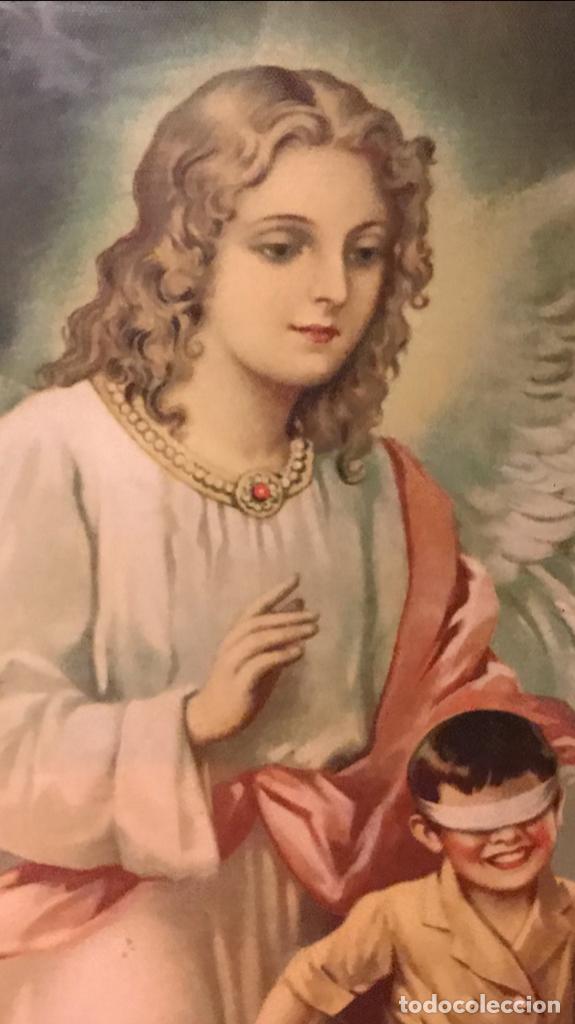 Arte: angel de la guarda antiguo cuadro litografia color j angel protector juega con niños gallina ciega - Foto 16 - 170321008