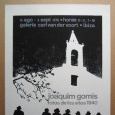 Arte: JOAQUIM GOMIS SERDAÑONS (BARCELONA 1902-1991) CARTEL PA FIRMADO 1976 GALERÍA CARL VAN DER MALLORCA. Lote 172679145
