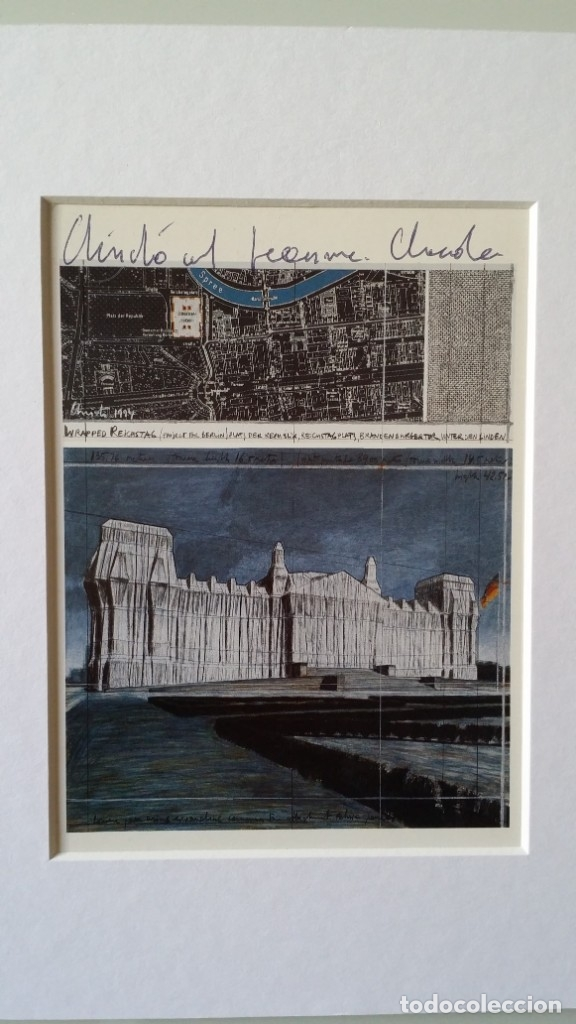 Arte: CHRISTO JAVACHEFF: Wrapped REICHSTAG,1995 / IMPRESIÓN EN LIENZO y montaje COLLAGE, firmado - Foto 7 - 48935665