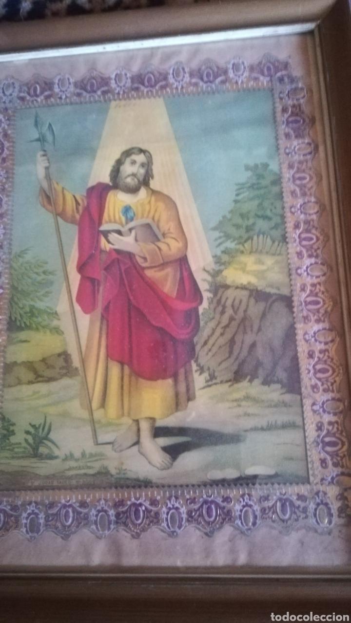 Arte: Antigua cromo litografíada, San Judas Tadeo - Foto 2 - 174355175