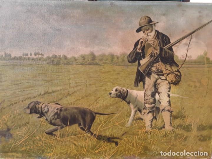 Arte: Cromolitografia sobre tela pegada a madera. Cazador y sus perros.70 x 97 cm. Con marco - Foto 2 - 174670749
