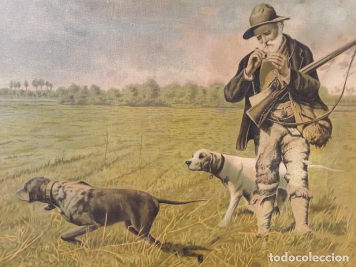 Arte: Cromolitografia sobre tela pegada a madera. Cazador y sus perros.70 x 97 cm. Con marco - Foto 3 - 174670749