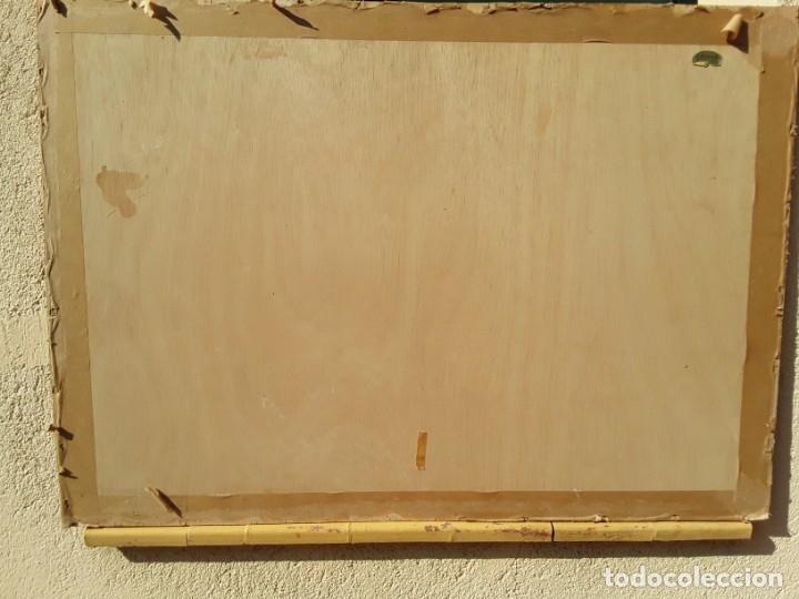 Arte: Cromolitografia sobre tela pegada a madera. Cazador y sus perros.70 x 97 cm. Con marco - Foto 4 - 174670749