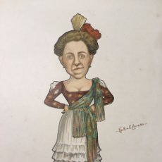 Arte: RUSSIAN BALLET - CARICATURA DE BAILARINA RUSA E.SASONOWA POR N. LEGAT - CIRCA 1902-1905 - RUSO. Lote 175451960