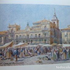 Arte: LEON MERCADO Y AYUNTAMIENTO CROMOLITOGRAFIA 1905 POR ARTISTA INGLES WIGRAM. Lote 176047667
