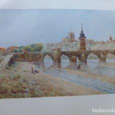 Arte: ZAMORA PUENTE Y VISTA DE LA CIUDAD CROMOLITOGRAFIA 1905 POR ARTISTA INGLES WIGRAM. Lote 176047939