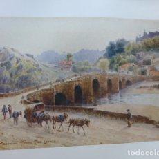 Arte: PLASENCIA CACERES PUENTE DE SAN LAZARO CROMOLITOGRAFIA 1905 POR ARTISTA INGLES WIGRAM. Lote 176048342
