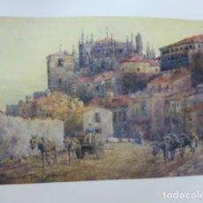 Arte: PLASENCIA CACERES VISTA DE LAS MURALLAS Y CATEDRAL CROMOLITOGRAFIA 1905 POR ARTISTA INGLES WIGRAM. Lote 176048374