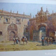 Arte: BURGOS HOSPITAL DEL REY CROMOLITOGRAFIA 1905 POR ARTISTA INGLES WIGRAM. Lote 176048690