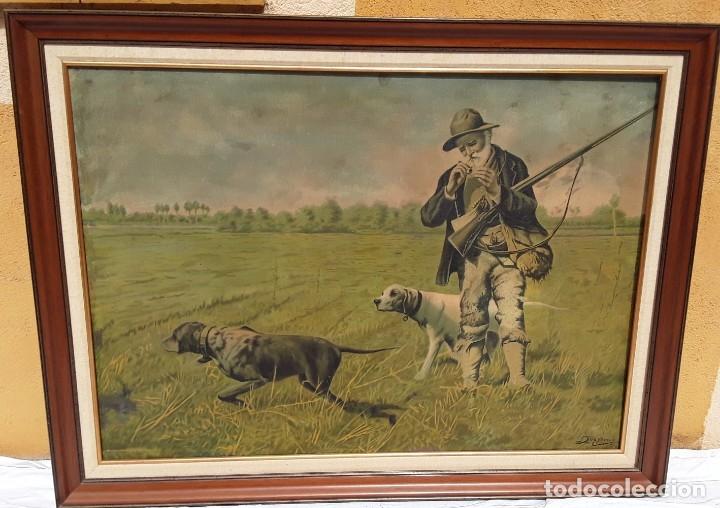 Arte: Cromolitografia sobre tela pegada a madera. Cazador y sus perros.70 x 97 cm. Con marco - Foto 5 - 174670749