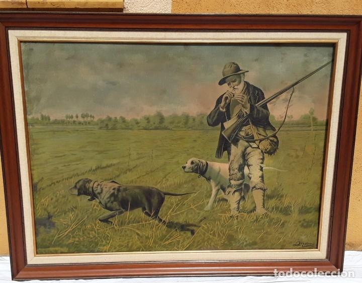 Arte: Cromolitografia sobre tela pegada a madera. Cazador y sus perros.70 x 97 cm. Con marco - Foto 6 - 174670749
