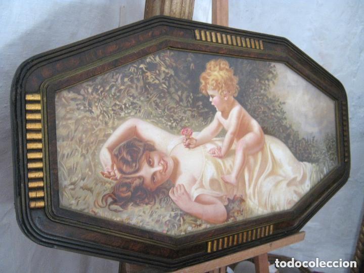 Arte: 88 CM . MATERNIDAD 1900/20 . CROMO LITO MODERNISTA ORIGINAL CON BELLO MARCO SIMIL CAREY - Foto 2 - 176865247
