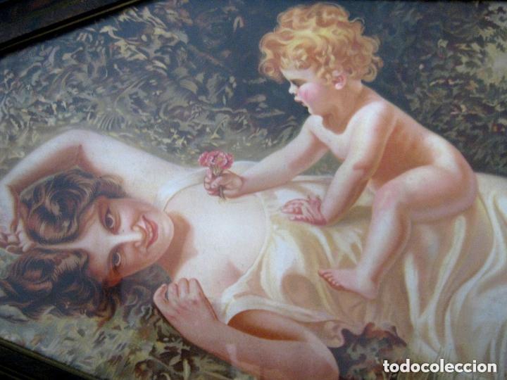 Arte: 88 CM . MATERNIDAD 1900/20 . CROMO LITO MODERNISTA ORIGINAL CON BELLO MARCO SIMIL CAREY - Foto 3 - 176865247