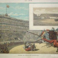 Arte: VISTA DE UNA CORRIDA DE TOROS DE VALENCIA DEL SIGLO XIX. Lote 177713697