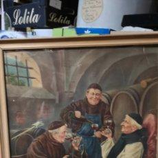 Arte: ANTIGUA LÁMINA DE MONJES BEBIENDO VINO PARECE UNA CROMOLITOGRAFIA. Lote 179186297