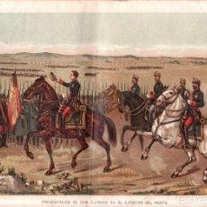 Arte: J. ALAMINOS: PRESENTACION DE DON ALFONSO XII AL EJERCITO DEL NORTE. 1893. CROMOLITOGRAFIA - CARLISMO. Lote 179390811