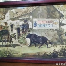 Arte: CROMOLITOGRAFIA ANTIGUA DE JUAN LARA - FUNDADOR DOMECQ ENMARCADA.. Lote 184760088