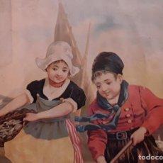 Arte: ARTES GRAFICAS GIJÓN: CROMOLITOGRAFIA. NIÑOS PESCANDO, PRINCIPIO SXX. 49 X 37 CM !!. Lote 188364966