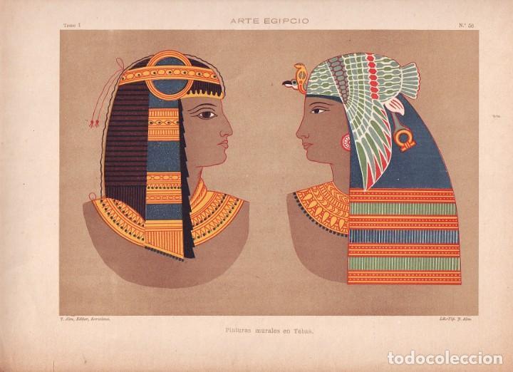 CROMOLITOGRAFIA C. 1890 J. ALEU ARTE EGIPCIO RARA PINTURAS MURALES EN TEBAS RARA (Arte - Cromolitografía)