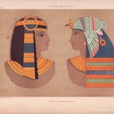 Arte: CROMOLITOGRAFIA C. 1890 J. ALEU ARTE EGIPCIO RARA PINTURAS MURALES EN TEBAS RARA. Lote 188483678