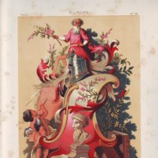 Art: CROMOLITOGRAFIA C. 1890 J. ALEU EUROPA TARJETON DEL GRAN NILSON SIGLO XVIII RARA. Lote 188521416