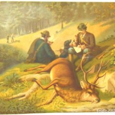 Arte: LA CAZA DEL CIERVO - CROMOLITOGRAFÍA SIGLO XIX. Lote 189305347