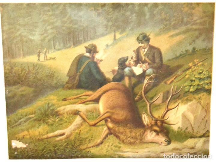Arte: LA CAZA DEL CIERVO - CROMOLITOGRAFÍA SIGLO XIX - Foto 2 - 189305347