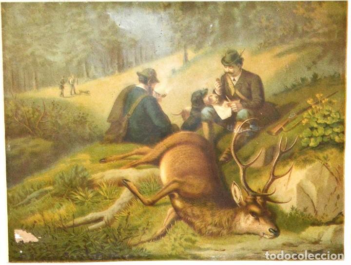 Arte: LA CAZA DEL CIERVO - CROMOLITOGRAFÍA SIGLO XIX - Foto 3 - 189305347