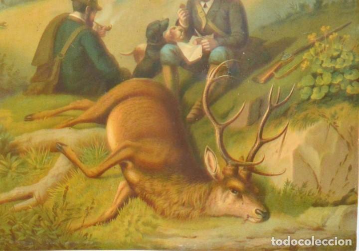 Arte: LA CAZA DEL CIERVO - CROMOLITOGRAFÍA SIGLO XIX - Foto 4 - 189305347