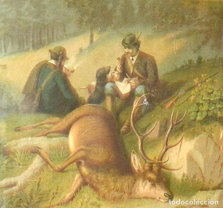 Arte: LA CAZA DEL CIERVO - CROMOLITOGRAFÍA SIGLO XIX - Foto 5 - 189305347