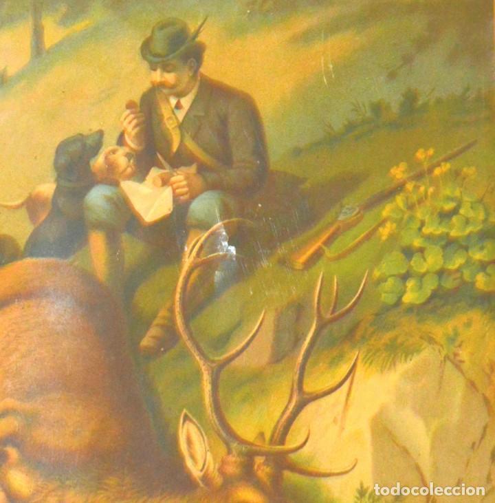 Arte: LA CAZA DEL CIERVO - CROMOLITOGRAFÍA SIGLO XIX - Foto 6 - 189305347