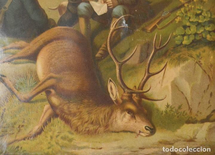 Arte: LA CAZA DEL CIERVO - CROMOLITOGRAFÍA SIGLO XIX - Foto 8 - 189305347
