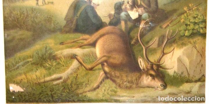 Arte: LA CAZA DEL CIERVO - CROMOLITOGRAFÍA SIGLO XIX - Foto 13 - 189305347