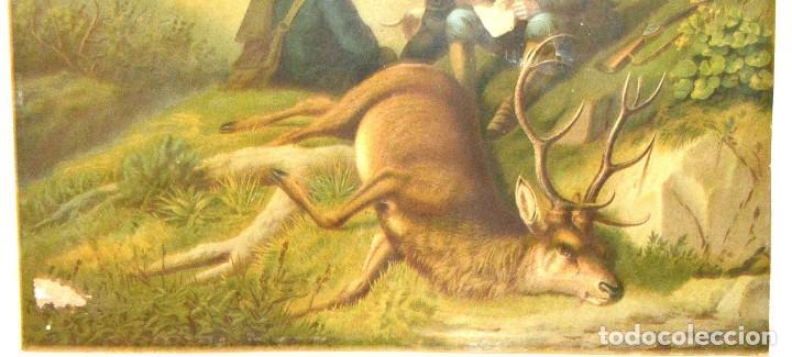 Arte: LA CAZA DEL CIERVO - CROMOLITOGRAFÍA SIGLO XIX - Foto 14 - 189305347