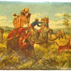 Arte: LA CAZA DEL TIGRE - CROMOLITOGRAFÍA DEL SIGLO XIX. Lote 189305456