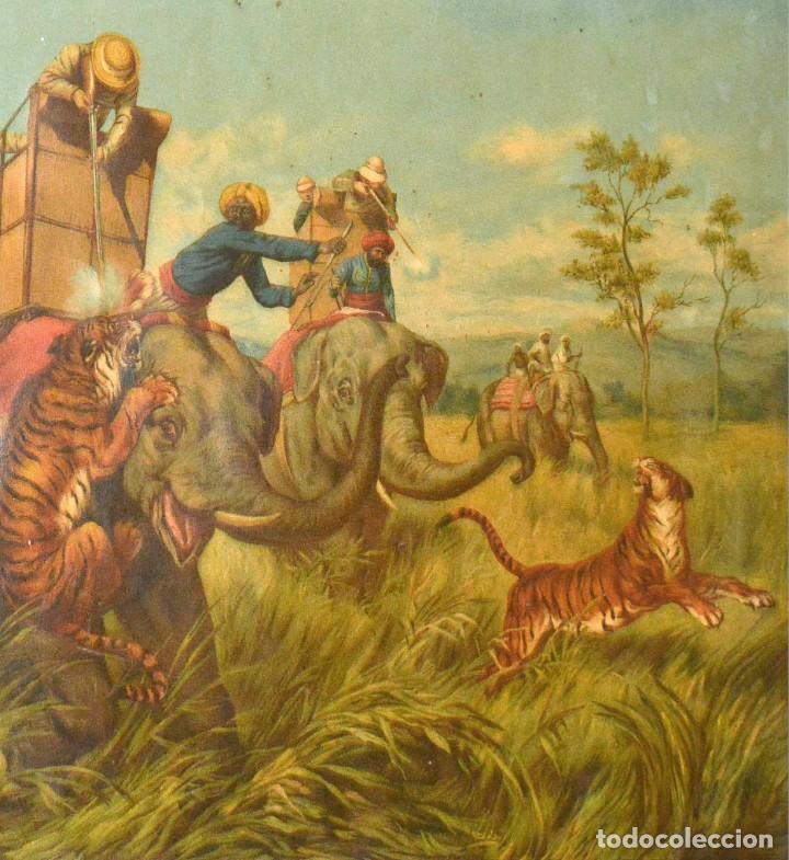 Arte: LA CAZA DEL TIGRE - CROMOLITOGRAFÍA DEL SIGLO XIX - Foto 3 - 189305456