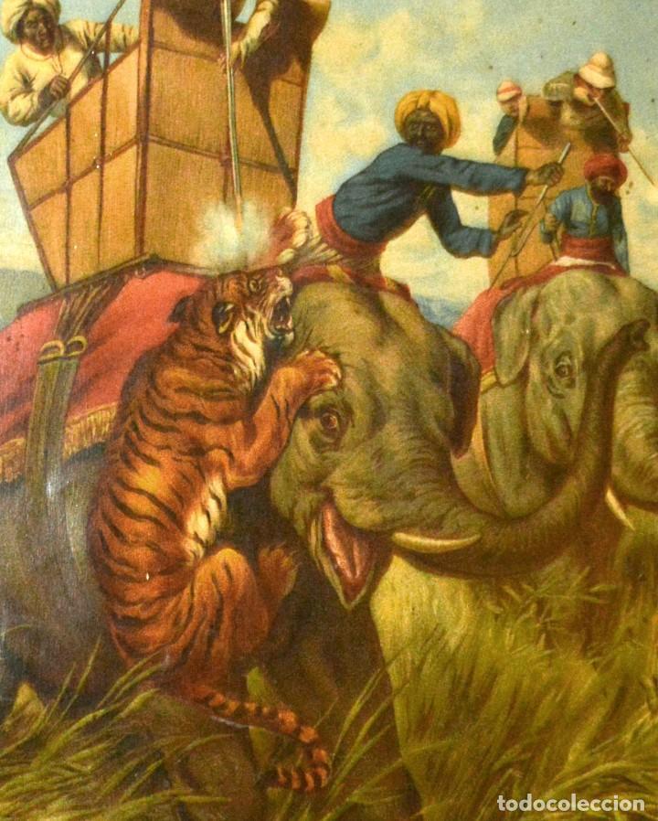 Arte: LA CAZA DEL TIGRE - CROMOLITOGRAFÍA DEL SIGLO XIX - Foto 6 - 189305456