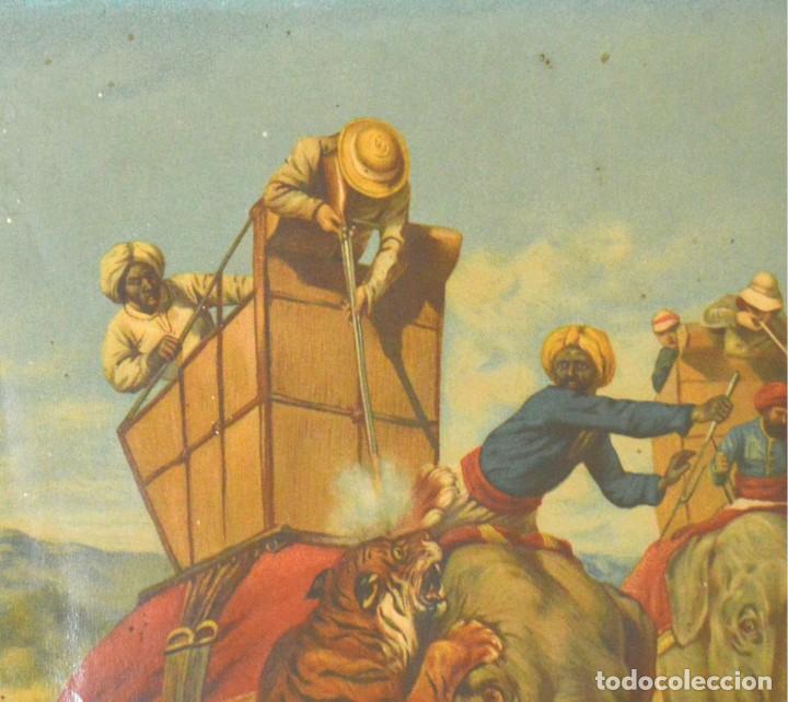Arte: LA CAZA DEL TIGRE - CROMOLITOGRAFÍA DEL SIGLO XIX - Foto 7 - 189305456