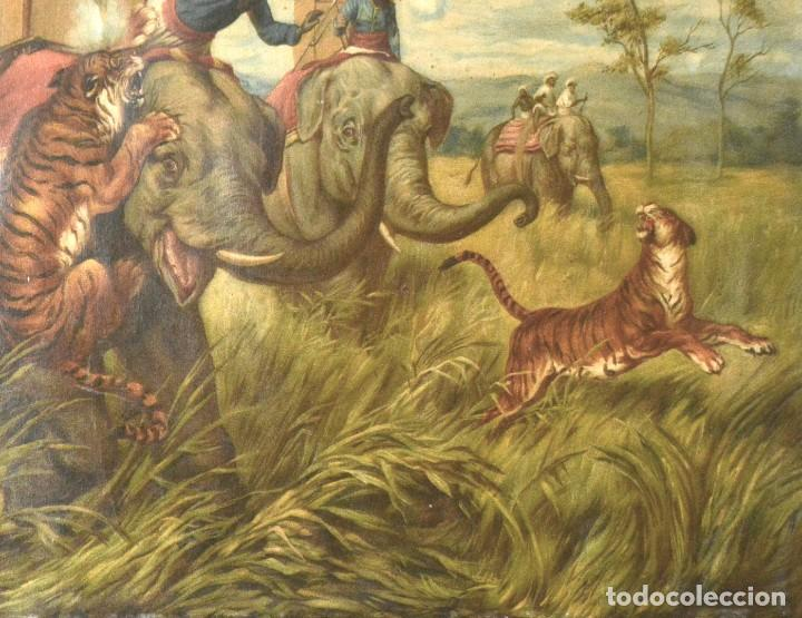 Arte: LA CAZA DEL TIGRE - CROMOLITOGRAFÍA DEL SIGLO XIX - Foto 8 - 189305456