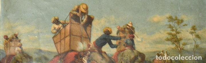 Arte: LA CAZA DEL TIGRE - CROMOLITOGRAFÍA DEL SIGLO XIX - Foto 9 - 189305456