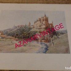 Art: SEGOVIA EL ALCAZAR CROMOLITOGRAFIA 1905 POR ARTISTA INGLES WIGRAM. Lote 189810552