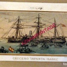 Arte: SIGLOS XIX, CROMOLITOGRAFIA DEL CRUCERO INFANTA ISABEL, 265X180MM. Lote 190863335