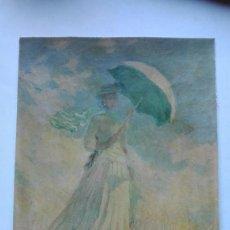 Arte: CLAUDIO MONET MUJER CON SOMBRILLA CROMOLITOGRAFIA DADA DE ALQUIL. Lote 191275743