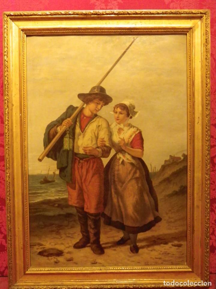 Arte: Pareja de pescadores.Cromolitografía S-XIX - Foto 2 - 193570006