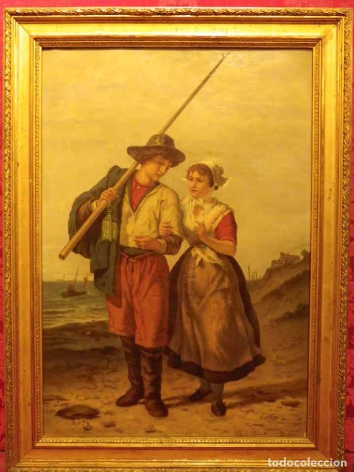 Arte: Pareja de pescadores.Cromolitografía S-XIX - Foto 3 - 193570006