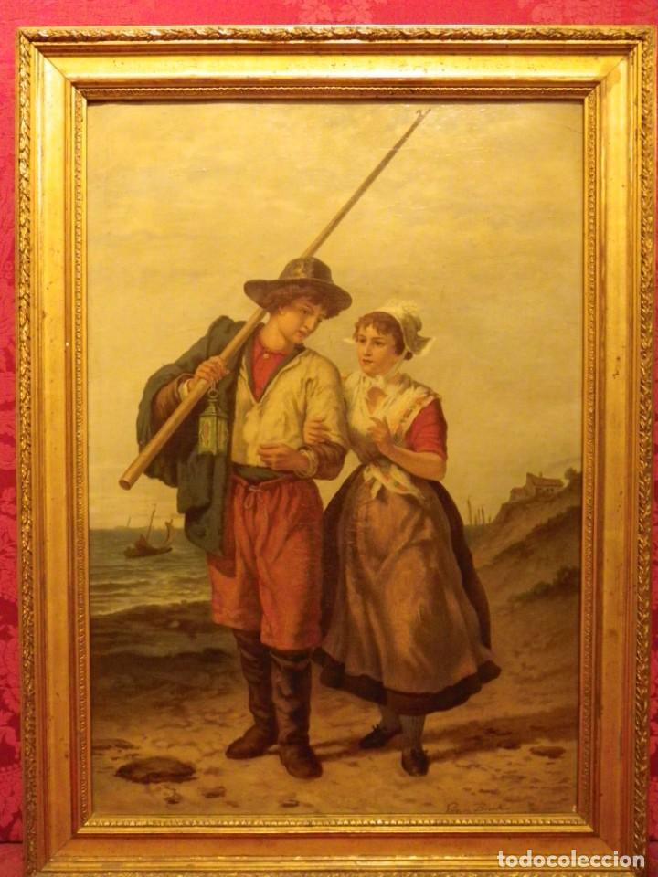 Arte: Pareja de pescadores.Cromolitografía S-XIX - Foto 4 - 193570006