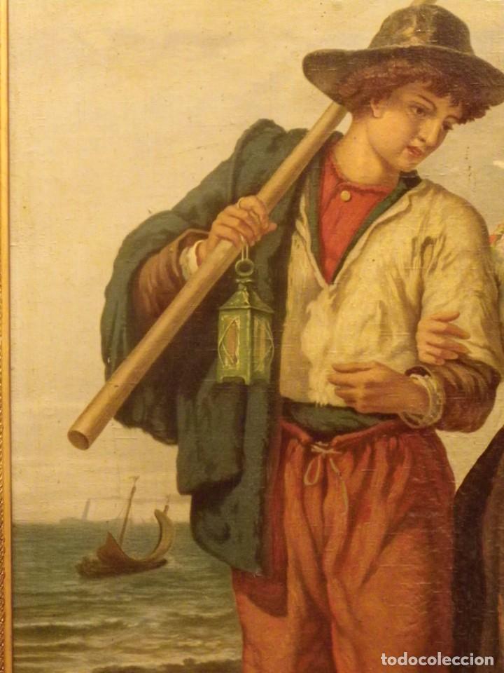 Arte: Pareja de pescadores.Cromolitografía S-XIX - Foto 6 - 193570006